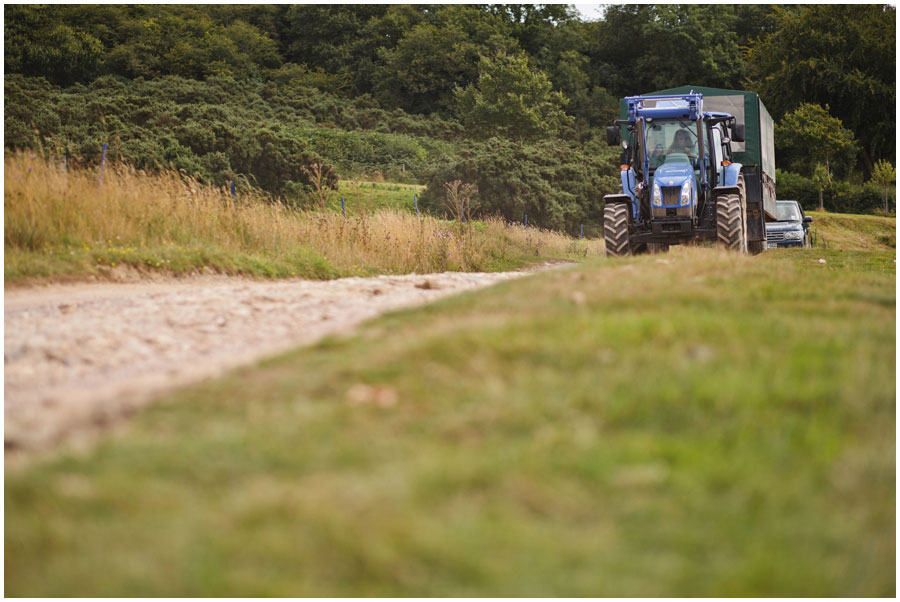 River Cottage Wedding Photography tractor ride