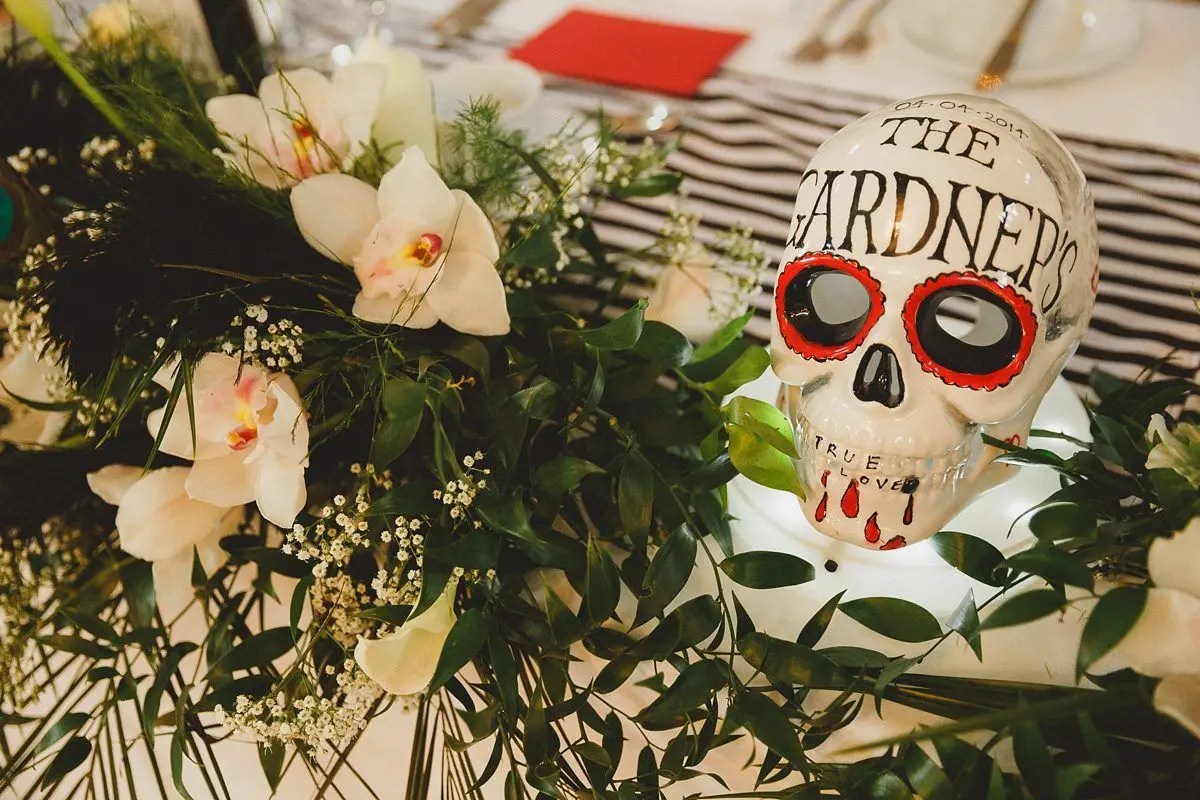 quirky skull table decoration at southend wedding