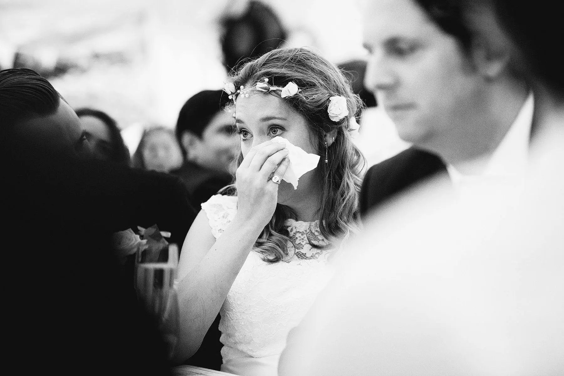 bride cries during speech