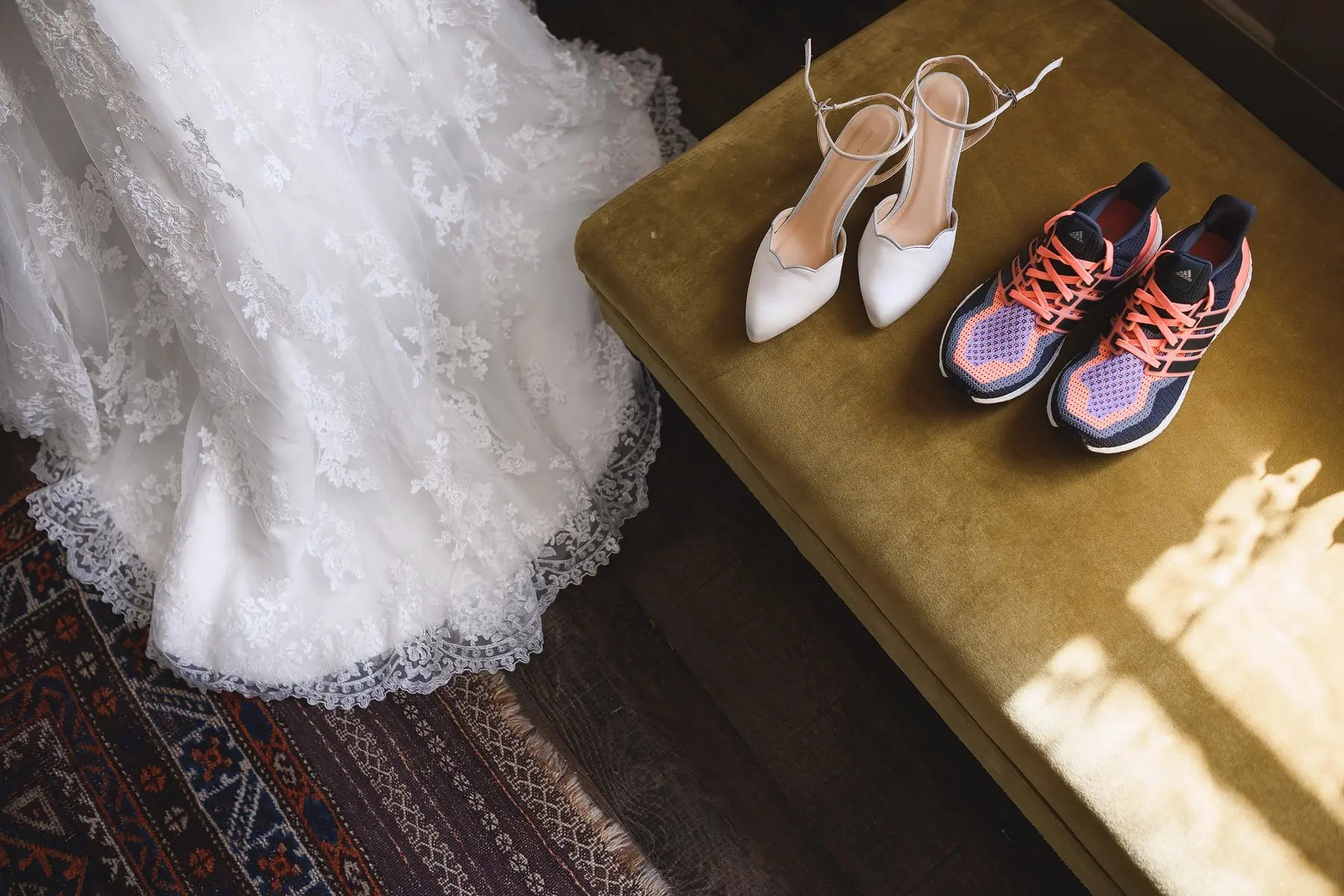 wedding dress and running shoes