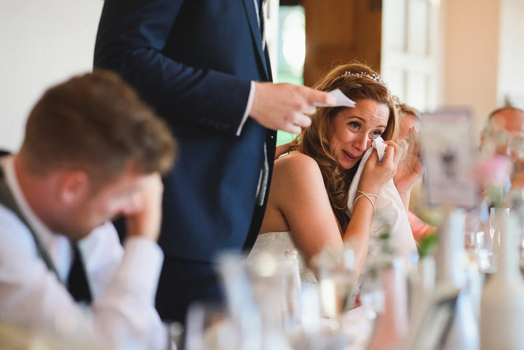 emotional bride during wedding speech coombe lodge