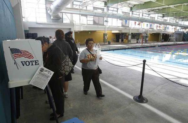 Pool & polling station (copyright LA Times)