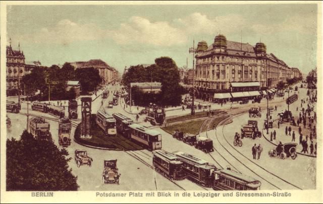 Potsdamer Platz Pre-War. The tramlines were still visible in 1994.