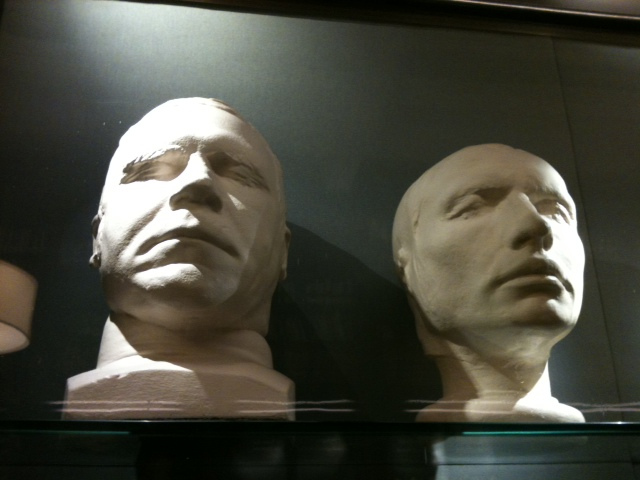Burke and Hare life and death masks in the Scottish National Portrait Gallery (photo copyright Samira Ahmed No reuse)