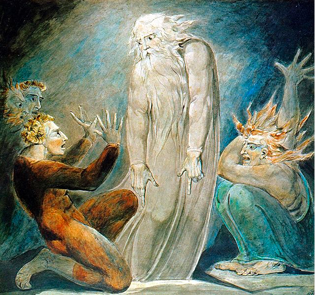 The spirit of Samuel conjured up by the Witch of Endor (William Blake)