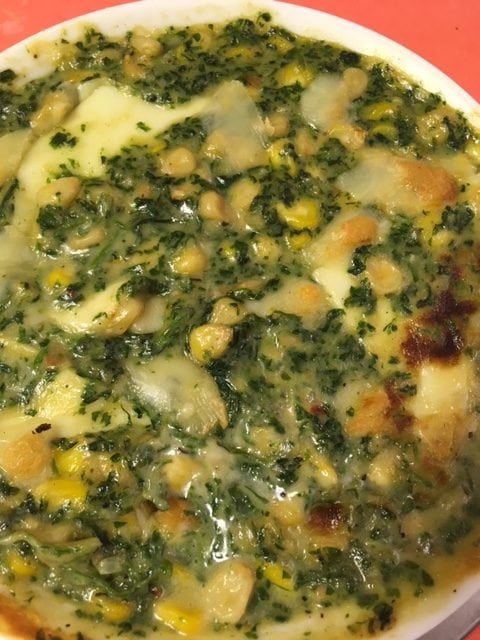 Baked Spinach Corn In White Sauce