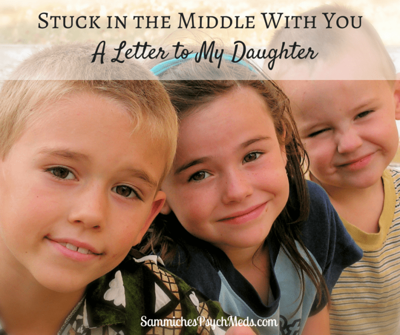Being a middle child is tough. Here's how one mother explains that her daughter isn't the only one stuck in the middle because she's stuck in the parenthood middle as well.