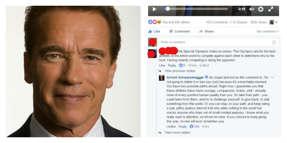 Schwarzenegger Brilliantly Responds to Troll Who Says 'Retards' Shouldn't Compete in Olympics