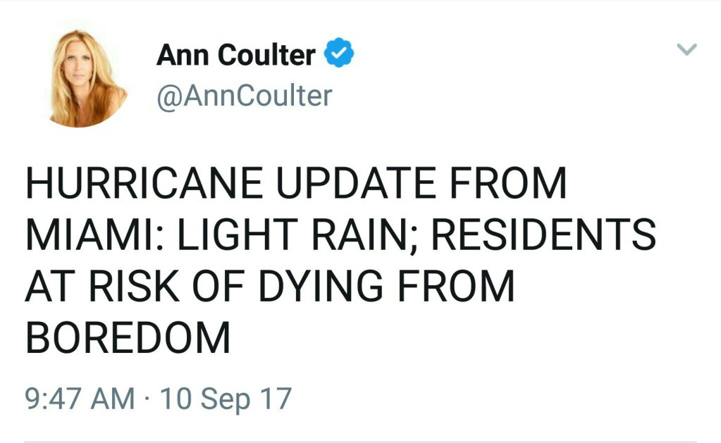 Ann Coulter Posts Series of Insensitive Irma Tweets, Proves She's Even More Subhuman Than Suspected
