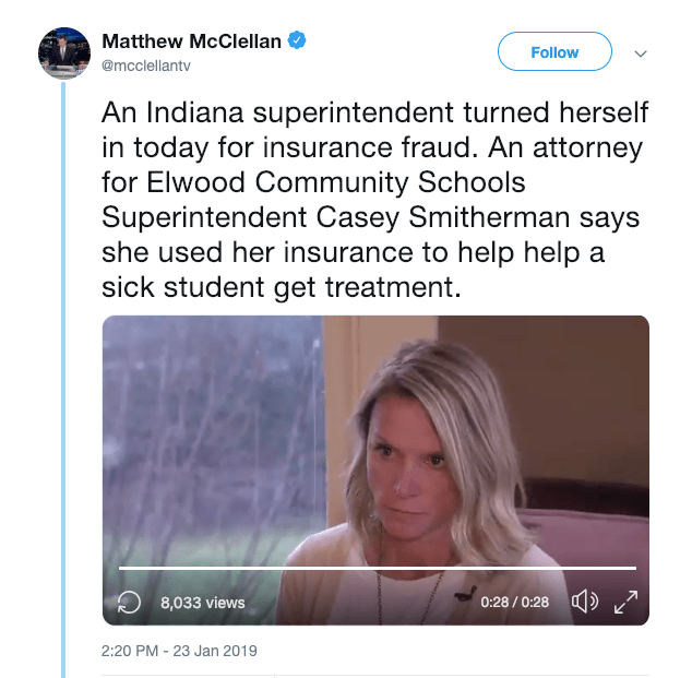 """In the latest """"this is America"""" story, an Indiana superintendent used her own son's insurance to seek medical help for a sick student in need, and was subsequently arrested."""