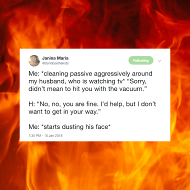 """If you're a mom, chances are you know what it means to """"rage-clean."""" Here are 18 funny tweets that you can relate to as you frantically scrub pee off the wall because your MIL is on her way over."""
