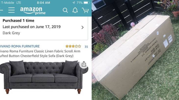 two-year-old from San Diego accidentally bought a $400 couch