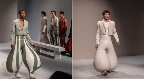 I mean, women had a labia shawl,so why shouldn't men have testicle trousers?