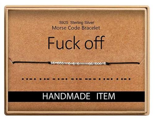 fuck off morse code bracelet funny valentine's day gift Sammiches and Psych Meds