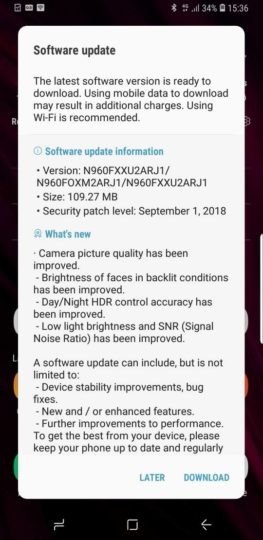 Recent Galaxy Note 9 camera update re-released with new build number