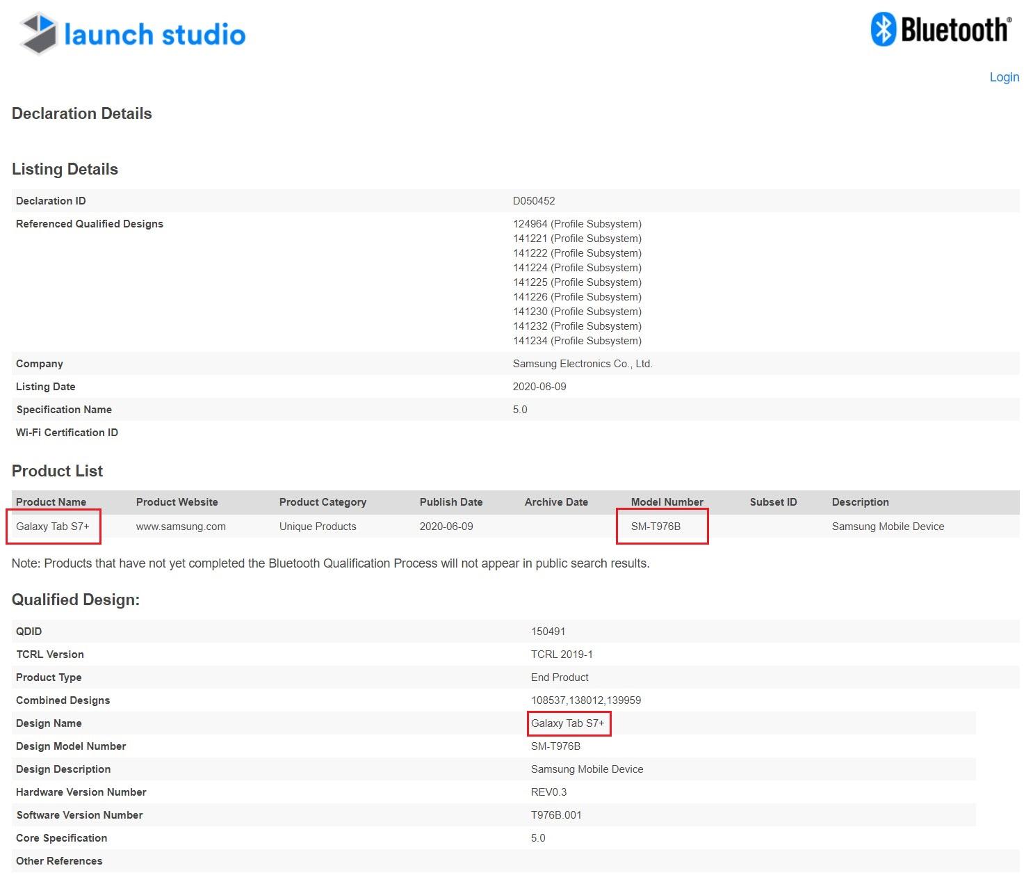 Samsung Galaxy Tab S7+ SM-T976B Bluetooth Certification