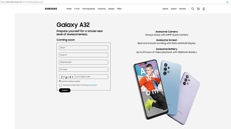 Samsung Galaxy A32 India Launch Date