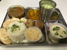 Rajasthani Thali with Daal, Baati, Choorma and Rice