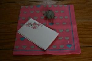 Hanami Tea Accouterments: Fukin with chawan motif, cherry blossom kaishi papers, and kyusu-shaped hashioki