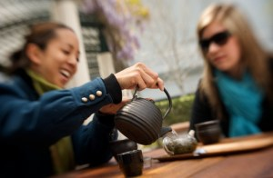 Drinking Tea on the Terrace at Samovar Yerba Buena