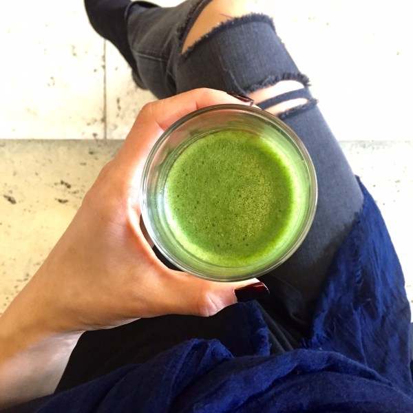 A serving of matcha is foamy and bright