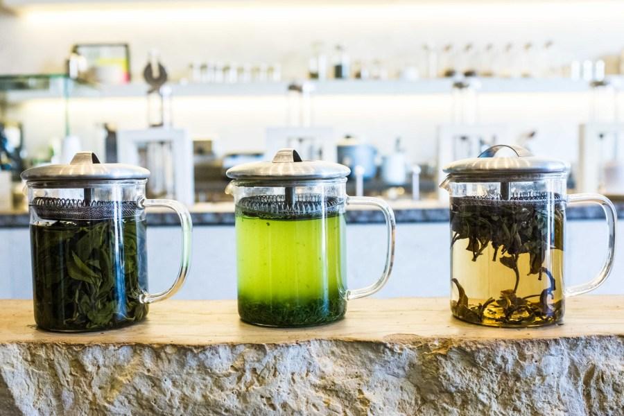 The different types of tea are resplendent on a limestone monolith at Samovar Teahouse, Valencia Street.