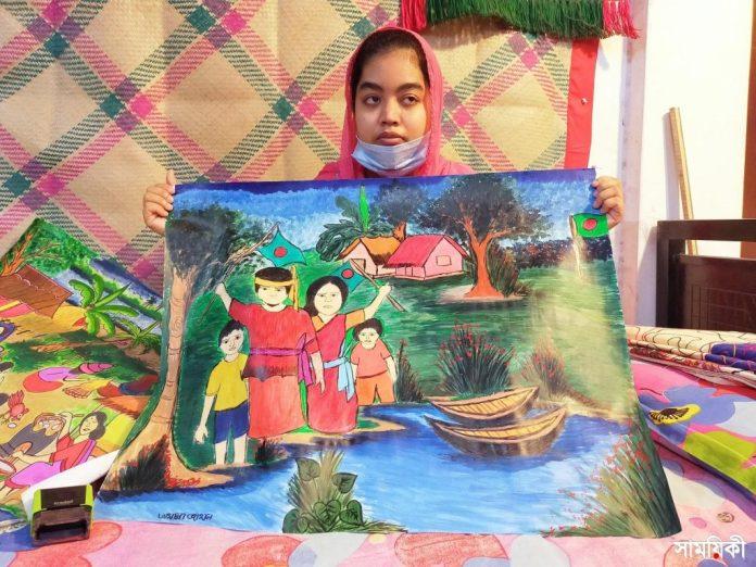 Barishal Photo Paintings drawn by deafdumb and autistic youth Tamanna Zahan 8 বাক্ ও শ্রবণপ্রতিবন্ধী এক অটিষ্টিক চিত্রকর তামান্না জাহান