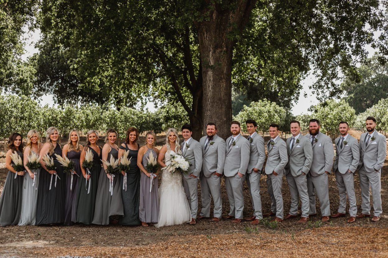 Bridal party photos outdoors beneath big oak tree.