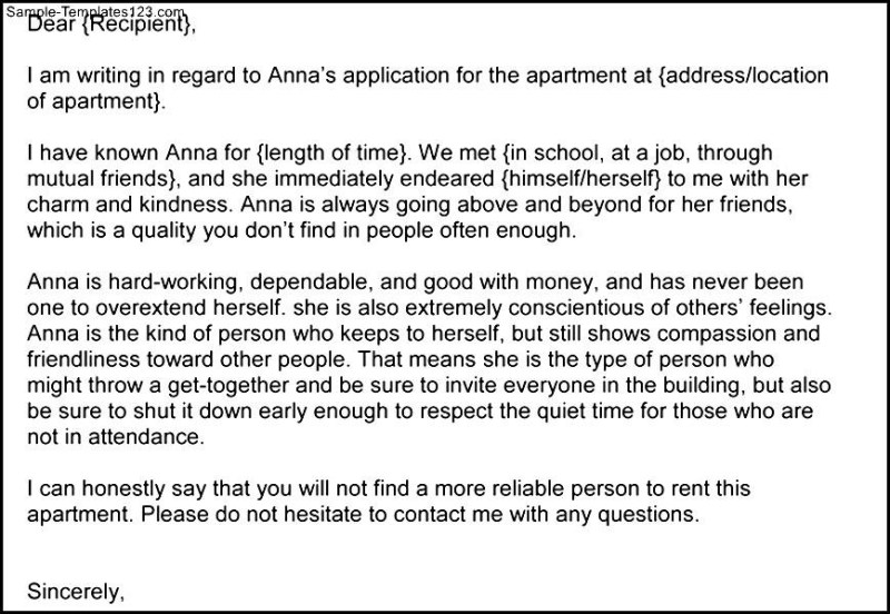 Sample personal reference letter for an apartment infoletter sample apartment reference letter image collections format expocarfo Gallery