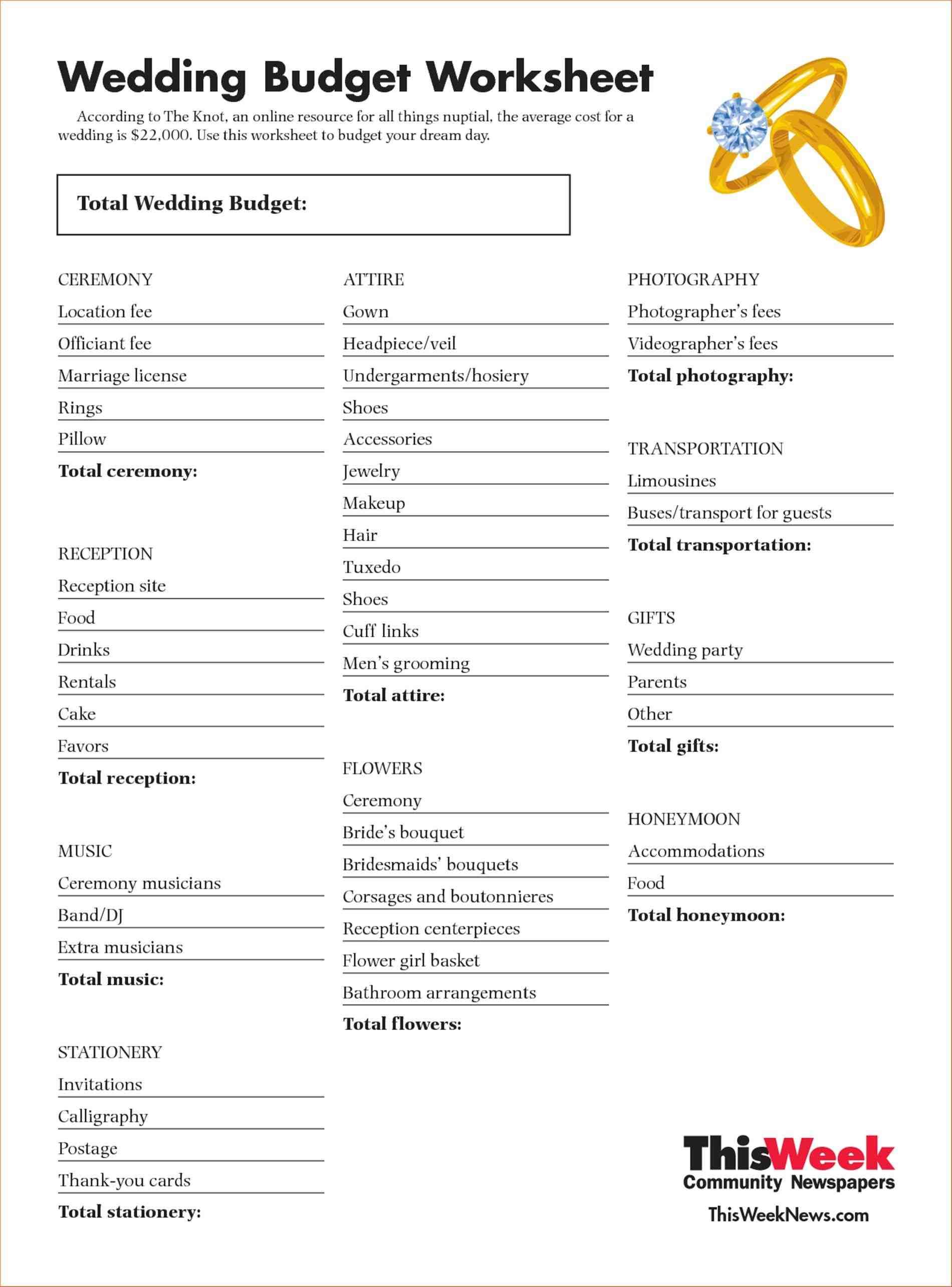 Wedding Event Expense Calculator Worksheet