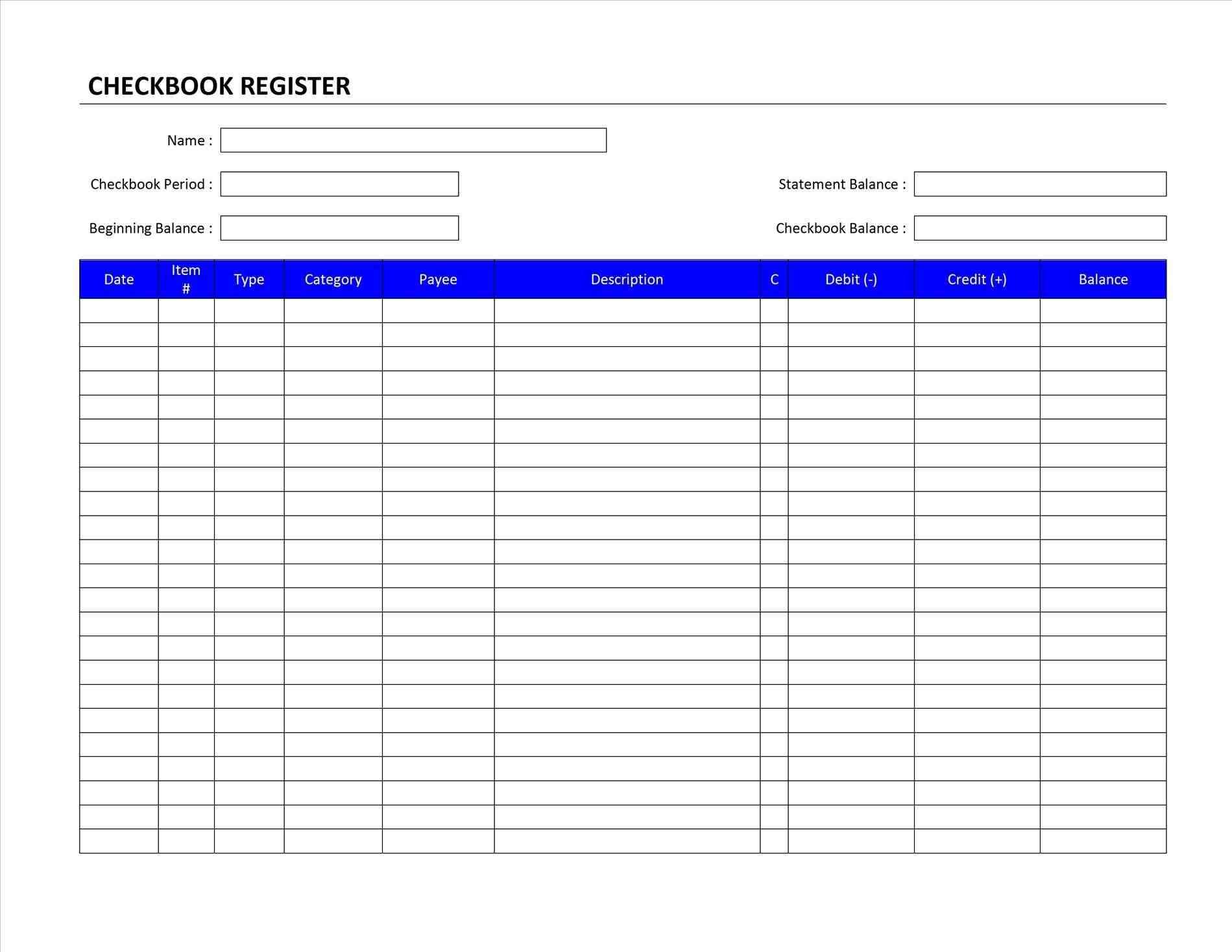 Excel Checkbook Register Budget Worksheet Archives