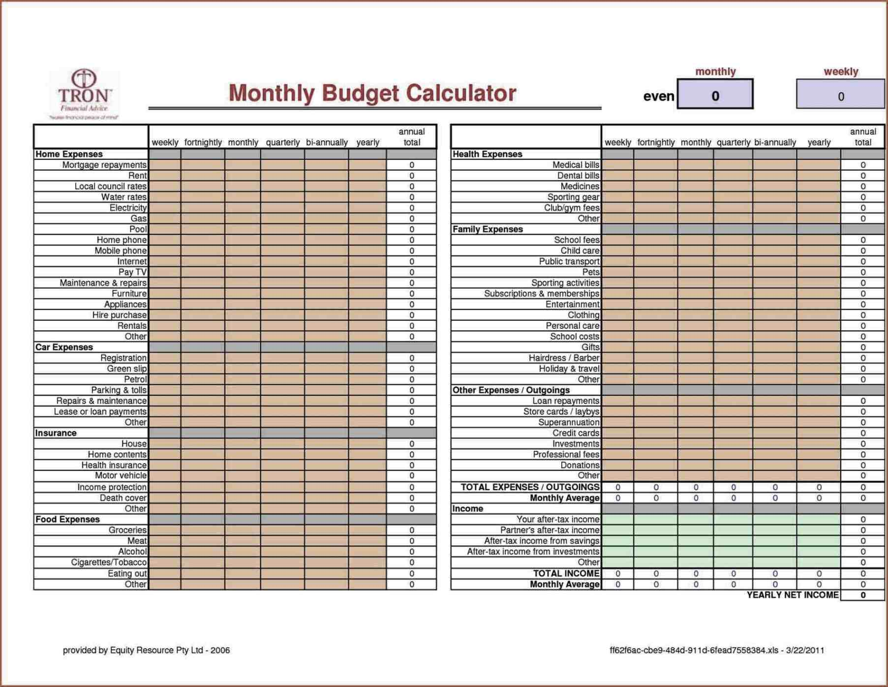 Excel Templates Monthly College Expense Calculator Worksheet