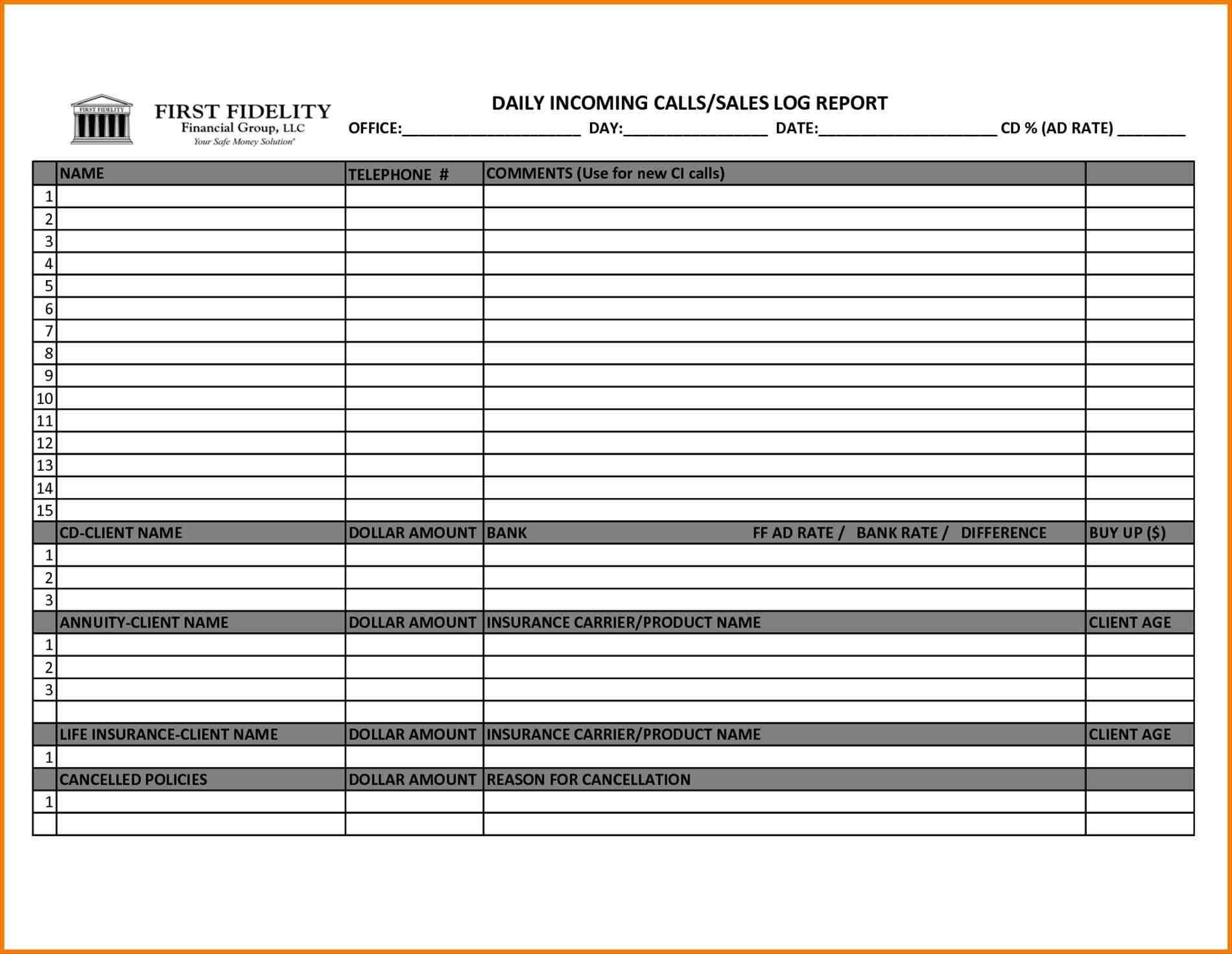 Sales Call Report Template Excel