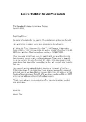 Covering Letter For Visitor Visa Canada Cover Letter