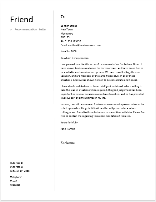 recommendation letter for a friend  u2013 free sample letters