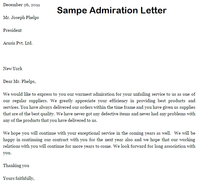 Superb Admiration Letter #2: Sample Letters Word
