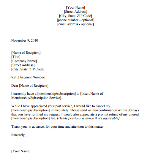 sample letter cancelling services