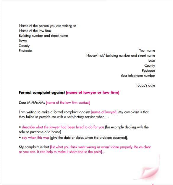 Formal complaint letter templates mersnoforum formal complaint letter templates spiritdancerdesigns Images