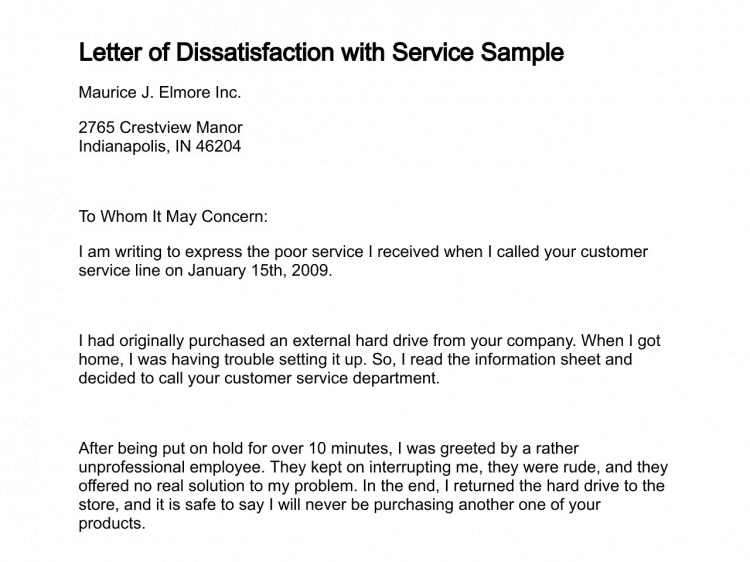 9  sample letters of disappointment