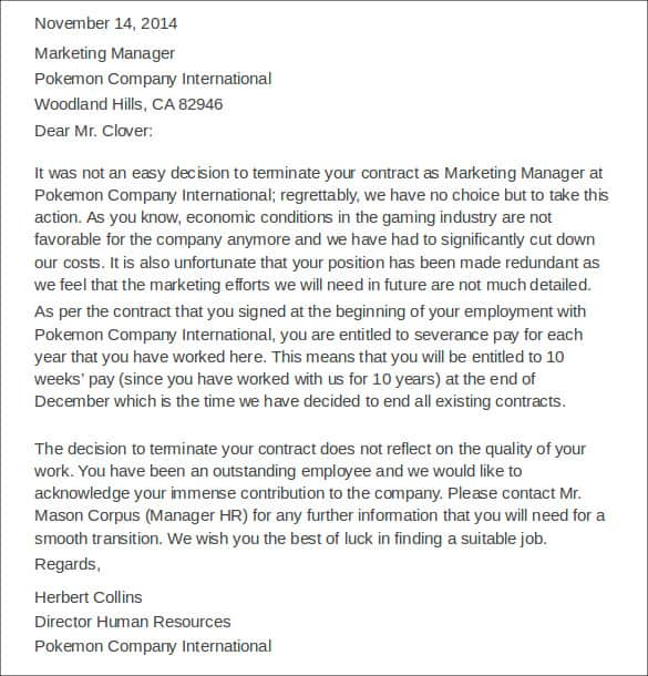employment termination letter - Sample Of Letter For Employment