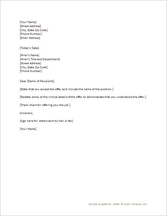 Acceptance Letter 100  Email Accepting A Job Offer
