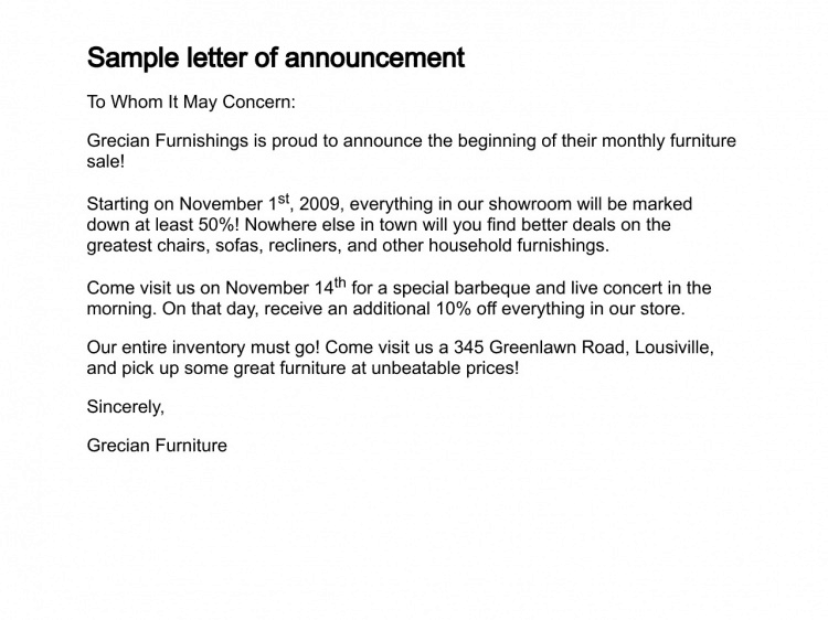 12+ Sample Announcement Letters  Promotion Announcement Letter Sample