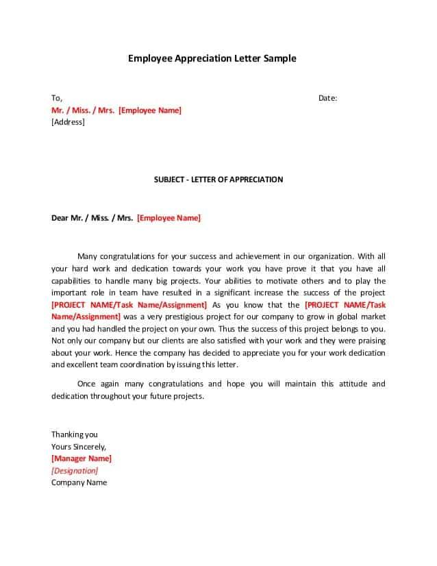 10  sample appreciation letters