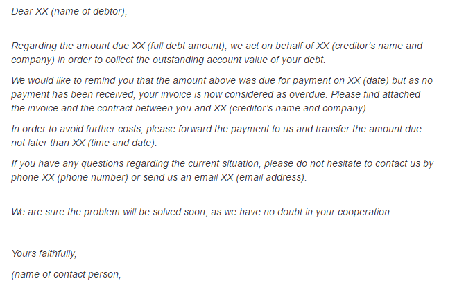letter for outstanding payment