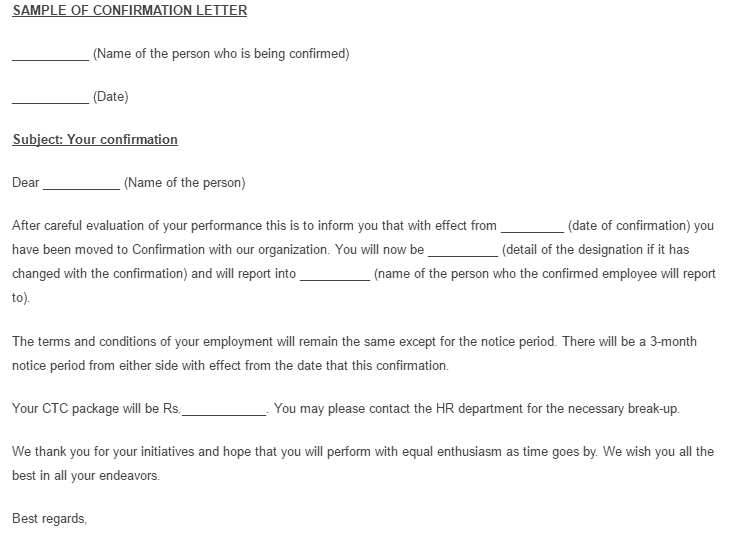 10 sample confirmation letters