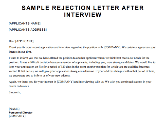 Rejection Letter After Interview | 11 Sample Denial Letters Sample Letters Word