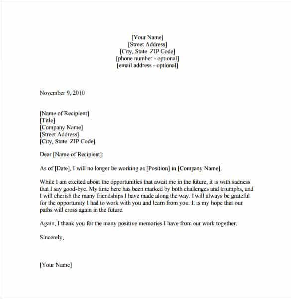 Good Farewell Letter 10 Regarding Sample Letters