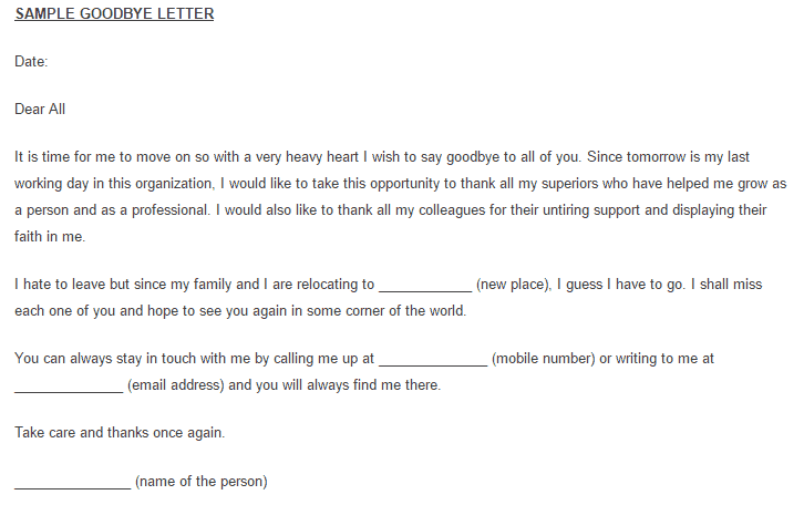 12 Sample Goodbye Letters Sample Letters Word