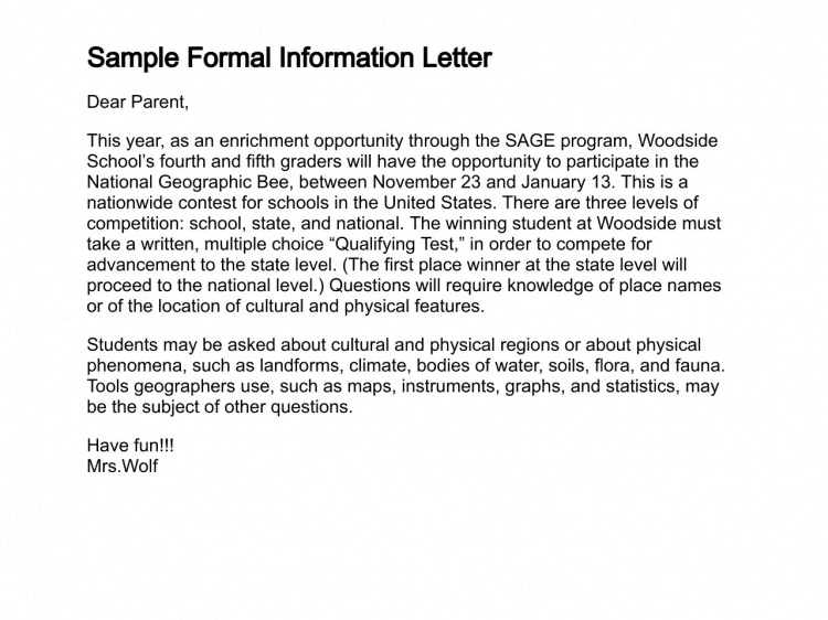 letter writing format 2016 8 sample information letters sample letters word 19724 | information letter 20
