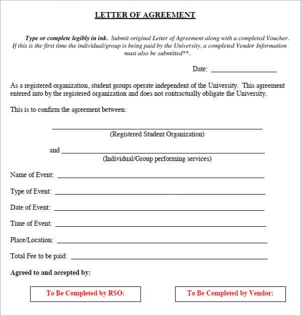 15+ Sample Letters Of Agreement - Sample Letters Word